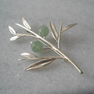 Silver Olive Brooch with Aventurine